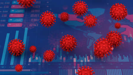 Effect of business and investment from coronavirus covid 19 outbreak, 3d rendering