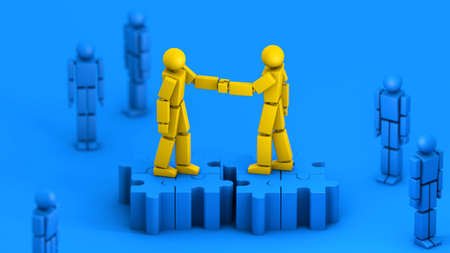 Merger and acquisition business concept, handshake join together on puzzle pieces, 3d rendering 免版税图像