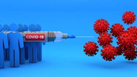 Human fight coronavirus covid 19 with vaccine in syringe, 3d rendering