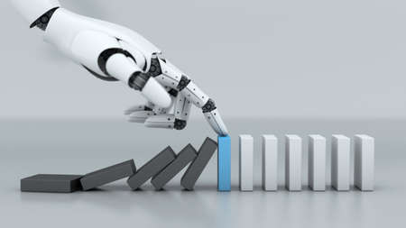 Robot hand stop crisis domino effect business, A.I. and machine technology assistant for industrial, 3d rendering