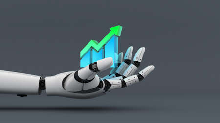White robot hand hold increase graph chart icon, A.I. and machine technology assistant for industrial, 3d rendering