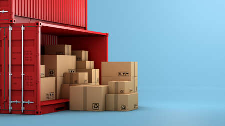 Stack of brown box packaging and container, import export shipping business, 3d rendering 免版税图像
