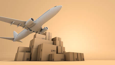 Stack of brown box packaging and airplane, import export shipping business worldwide, 3d rendering 免版税图像