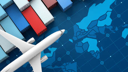 Container cargo ship and airplane in import export business logistic on digital world map, 3d rendering