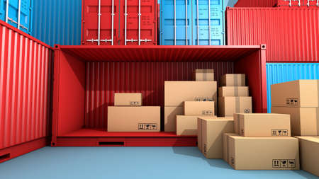 Stack of brown box packaging and container, import export shipping business, 3d rendering Stock Photo