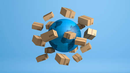 Stack of brown box packaging for goods, import export shipping business worldwide, 3d rendering Stock Photo