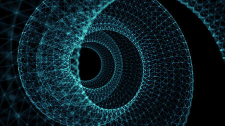 Circle wireframe line background, science fiction style, 3d rendering Stock Photo
