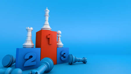 Chess piece on award podium, winner strategy competition business, 3d rendering