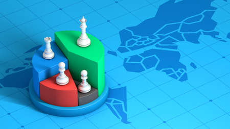 Chess piece on market share, winner strategy competition business, 3d rendering