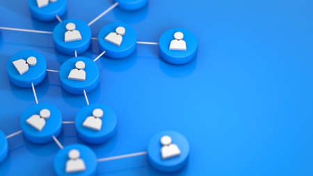 Blue social network connecting people icon. 3d rendering Stock Photo