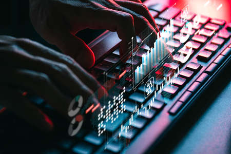 People using keyboard computer for search, working, shopping, e-learning and social connection Stock Photo