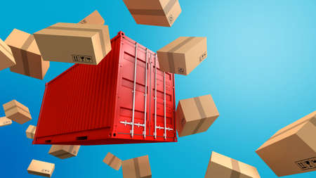 Cargo freight ship for import export business, 3d rendering