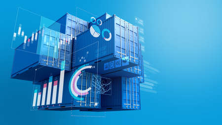 Stack of blue containers box with digital graph chart