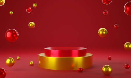 Red gold circle product display stage or blank podium pedestal background 3d rendering