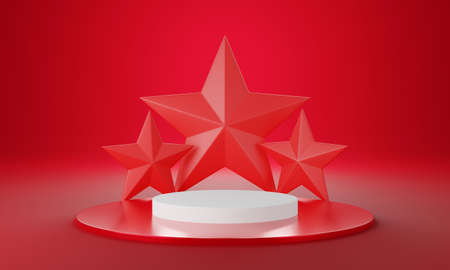 Red white circle product display stage or blank podium pedestal background 3d rendering