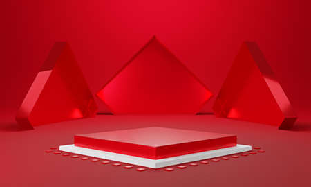 Red white rectangle product display stage or blank podium pedestal background 3d rendering