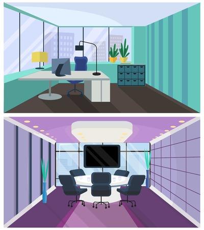 ufficio interno. stanza ufficio, sala riunioni. Vettore Interno di ufficio in stile piatto. stanza con un tavolo conferenze. Poltrona e tavolo, computer e monitor, vista dalla finestra sulla megalopoli, grattacieli. concetto di business