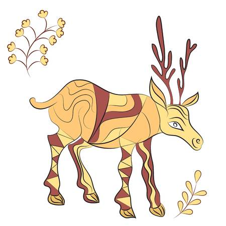 christmas motif: decorated deer with nature elements. Hand drawn illustration. Scandinavian, Indian traditional style.