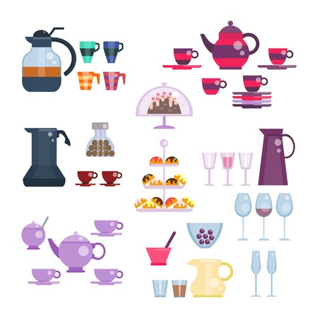 dishes set: Dishes set illustration in flat style. Tea and coffee collection. Tea set. Utensils for serving festive, celebration table. Cups and teapot, glasses and pitcher, sweets and cake