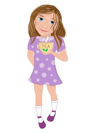 wake up happy: Nice girl in a dress holding in her hand a cup of tea. Morning print or poster. Illustration