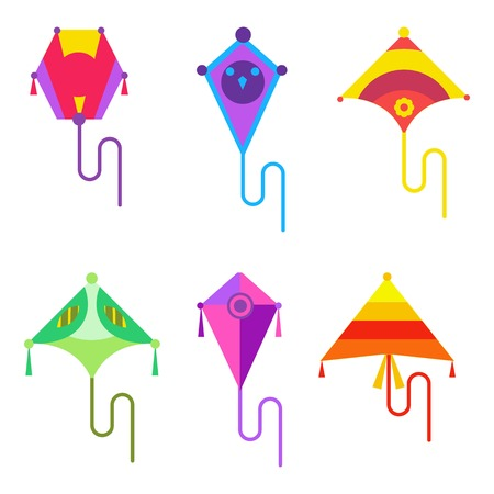 child's: illustration of kite set. Kites flying icon in flat style. Childs activities and play. Sky and wind, hobby and summer Illustration