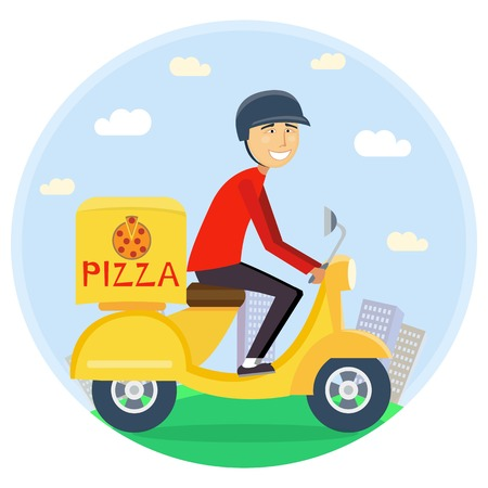 free riding: Pizza or food delivery concept. Boy riding on scooter or motorcycle, delivering fastfood. Fast and free Transport. Free shipping, pizza restaurant service. flat cartoon illustration