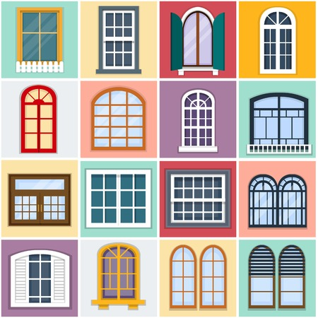 old building facade: illustration of windows set. Details - window set for constructing house. Flat style. Collection of house constraction. Urban street design