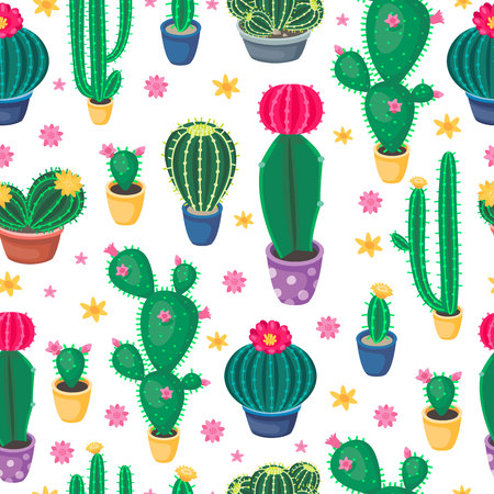 Cartoon cactus seamless pattern with cute colorful cacti. Desert plants in the pots and succulent flowers. Botanical Vector illustrations.