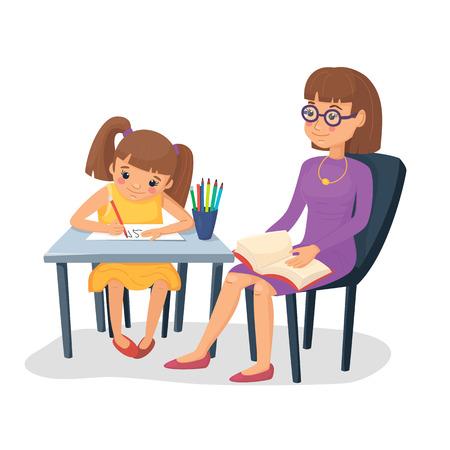 Madre ayudando a su hija con la tarea. Chica haciendo tareas escolares con mamá o maestra. Ilustración de vector. Estilo plano de dibujos animados.