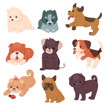 Puppy set with beautiful cute dogs. Different breeds of happy jumping and sitting pets. Husky and bulldog, pug and jack Russell terrier. Vector illustration. Cartoon style. Illustration