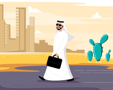 Arab man is going on the street. Sheikh in the city. Moslem is in the town. Wealthy people. Vector illustration. Cartoon flat style Illustration