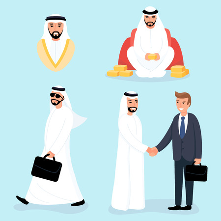Arab man in business situations. Sheikh on the meeting with European and sitting with gold bars. Moslem is going. Wealthy people.
