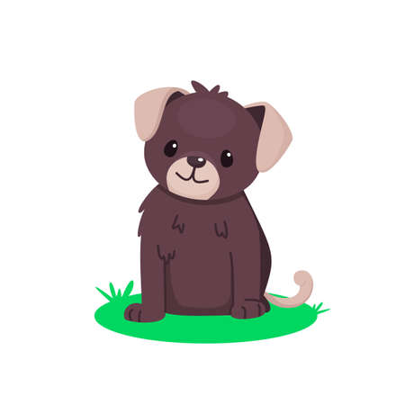 Cute sitting puppy. Pretty brown dog. Vector cartoon illustration for kids.
