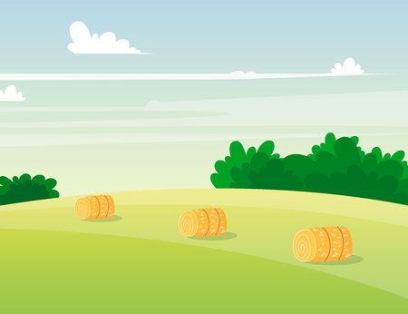 Rustic landscape with haystacks. Valley scenery. Village countryside background. Vector illustration, cartoon style