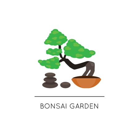 Bonsai tree composition for logo. Japanese plant and garden. Vector illustration. Flat cartoon style.