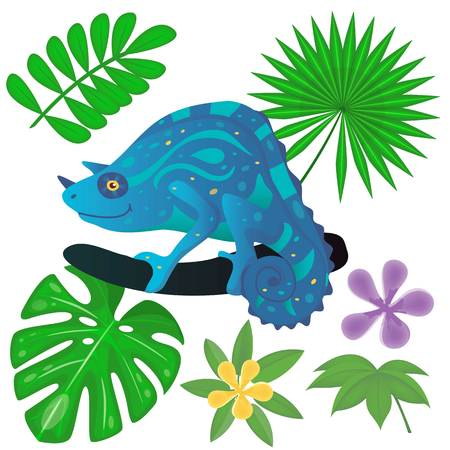 Iguana on the tree and jungle plants. Chameleon between palm and monstera leaves. Vector illustration. Cartoon style.