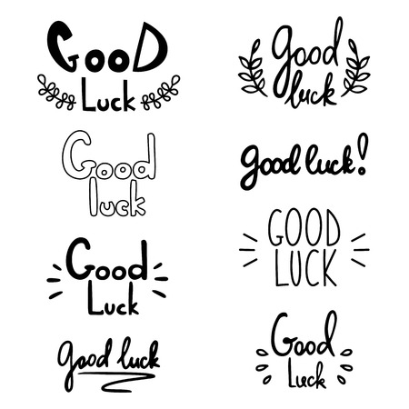 Good luck lettering. Vector illustration with lucky greeting hand drawn quote.