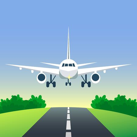 Airplane is landing or taking off on the runway. Plane in the sky and road among field. Meadow and forest. Travel transportation aviation concept. Vector illustration. Cartoon flat style.