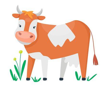 Adorable cute cow. Vector design for milky pack or illustration for children. Cartoon flat style.