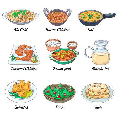 Indian food set. Asian traditional cuisine collection with different dishes and drink. Masala tea and Dal, Butter chicken and alu gobi, samosas and paan naan. Vector hand drawn illustration. Stock Vector - 127194110