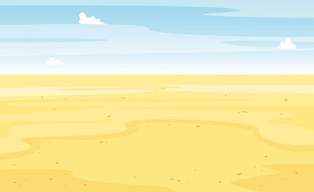 Desert with cactus landscape view. Sand and cacti. Beautiful sunny summer scene. Hot and wild. Vector cartoon flat illustration. Foto de archivo - 127196352