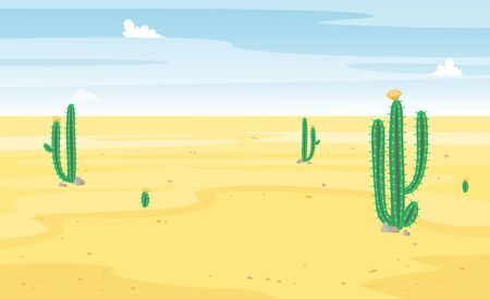 Desert with cactus landscape view. Sand and cacti. Beautiful sunny summer scene. Hot and wild. Vector cartoon flat illustration.