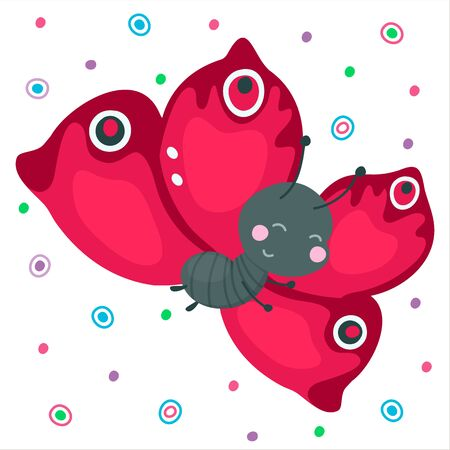 Cute cartoon smiling butterfly. Red flying funny insect for baby design. Beautiful kind animal. Vector illustration.