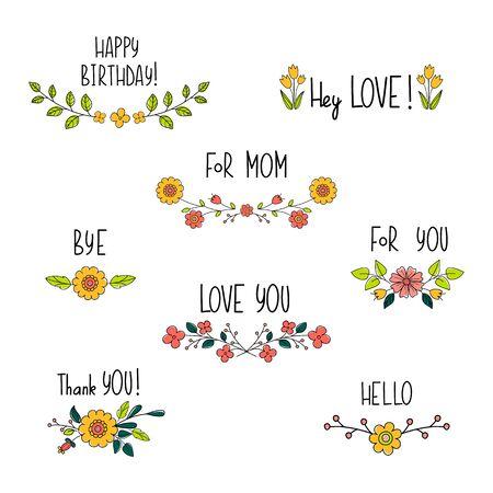 Doodle flower compositions with hand drawn text. Floral lettering for cards and postcards. Wedding and happy birthday compositions. Invitation and greeting design. Vector cartoon illustration. Vectores