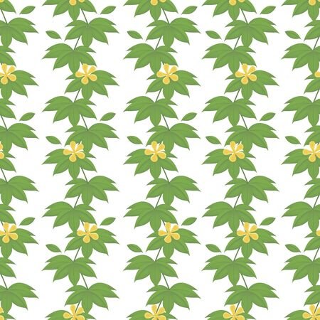 Grass jungle leaves seamless borders pattern. Tropical summer foliage background. Rainforest botanical concept. Vector illustration, cartoon style.