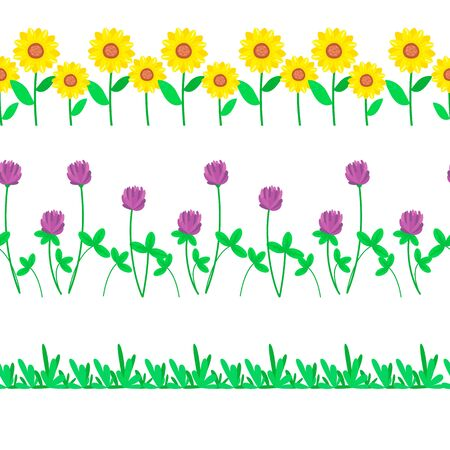 Cartoon grass and flowers seamless border. Meadow summer vector illustration.