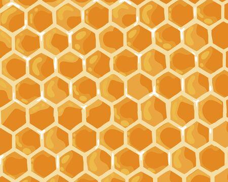 Cute honey sweet background. Honeycomb banner. Vector cartoon flat illustration.