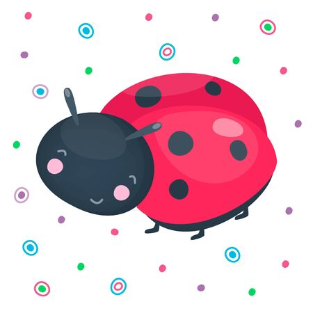 Cute cartoon smiling ladybug. Red with dots adorable funny insect for baby design. Beautiful kind animal. Vector illustration.