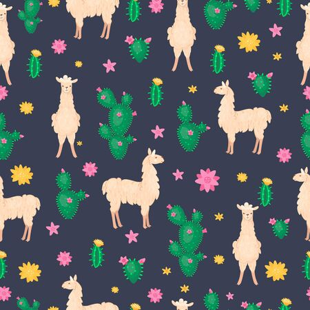Lama and cactus seamless pattern. Alpaca wool and llamas, succulents and Peru american vector illustration. Cartoon style. Vectores