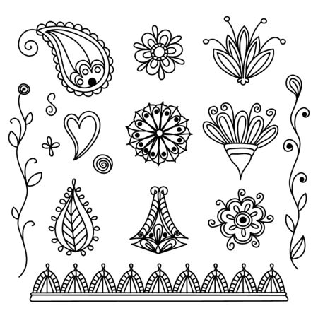 Set of simple indian mehendi. Henna collection with doodle swirls and flowers. Vector illustration decor. Vectores